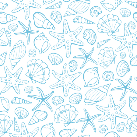 Seamless background from hand drawn sea shells and stars. Marine illustration of shellfish. Illustration