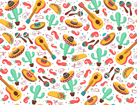 Viva Mexico de patrones sin fisuras. Símbolos de la cultura mexicana sobre fondo negro. Guitarra, sombrero, maracas, cactus y jalapeño en el diseño de fondo de azulejos.
