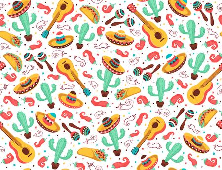 Viva Mexico seamless pattern. Simboli della cultura messicana su sfondo nero. Chitarra, sombrero, maracas, cactus e jalapeno nel design del fondale piastrellato.