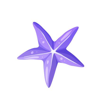 Icona luminosa della stella marina del fumetto. Simbolo di stelle colorato isolato su sfondo bianco. Illustrazione vettoriale.