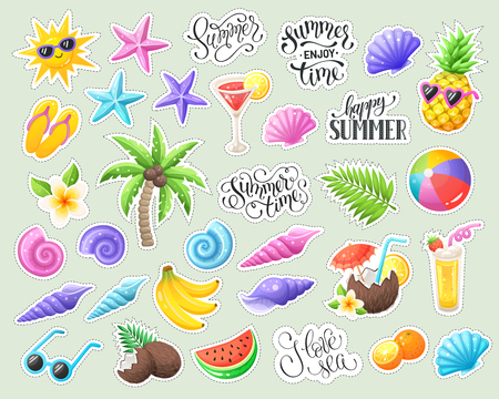 Tropical summer stickers isolated. Summer time wording with colorful beach objects. Fresh tropical fruits and cocktails icons.