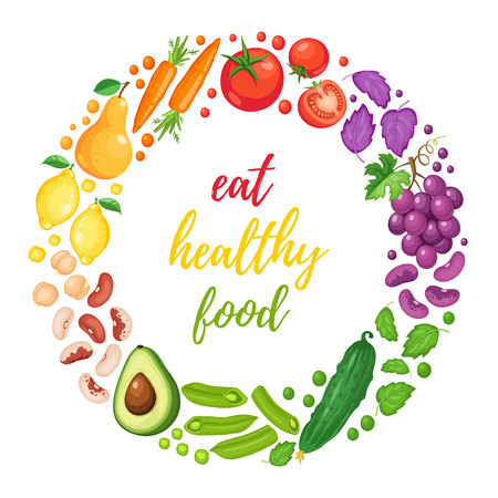 Eat healthy food poster with fresh fruits and vegetables isolated on white background. Circle composition from fruits and vegetables arranged in rainbow colors.