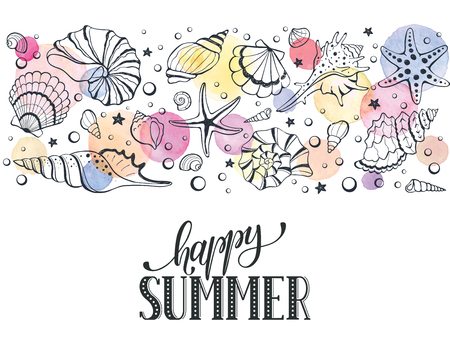 watercolour: Summer time horizontal banner. Hand drawn sea shells and stars collection. Marine illustration of ocean shellfish. Colorful seashells arranged in stripe isolated on white background. Illustration