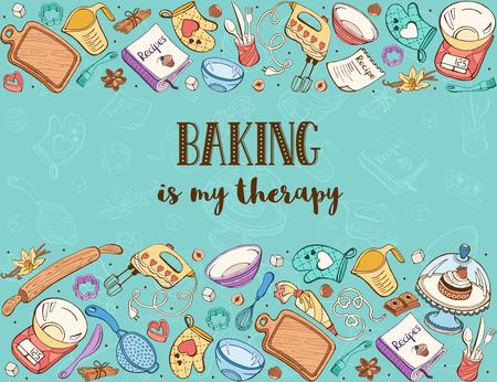 Bakken is mijn therapie. Bakgereedschap in horizontale samenstelling. Recept boek achtergrond concept. Poster met handgemaakte keukengerei.