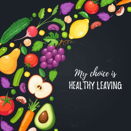 My choice is healthy eating. Food poster with fresh fruits and vegetables on blackboard. Corner composition from fruits and vegetables. Illusztráció