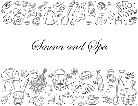 Sauna and spa. Sauna accessories sketches in horizontal composition. Hand drawn spa items collection. Doodle treatment objects isolated on white background. Illustration