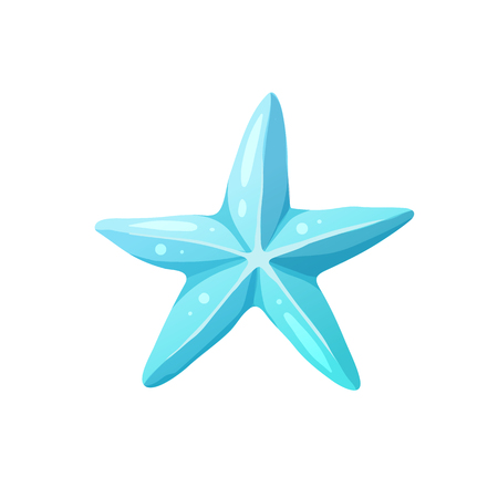 Bright cartoon starfish icon. Colorful sea star symbol isolated on white background. Vector illustration.