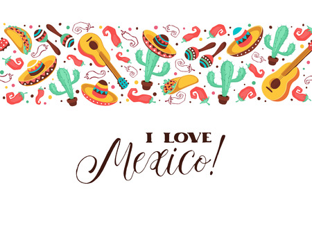 I love Mexico poster  in horizontal stripe composition. Mexican culture symbols collection. Guitar, sombrero, maracas, cactus and jalapeno isolated on white background. I love Mexico greeting card.