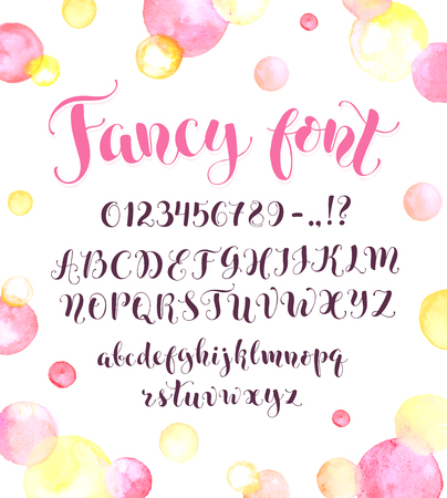 Fancy Calligraphy Font With Watercolor Spots Isolated On Background Uppercase Lowercase Letters Numbers