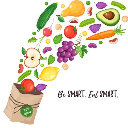 Papieren zak met vliegende verse groenten en fruit. Wees slim, eet slim. Kruidenierswinkeldocument zak met gezond voedsel op witte achtergrond. Winkelen op een markt. Gezond levensstijl concept.