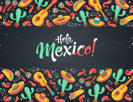 Hola Mexico poster  in horizontal stripe composition. Mexican culture symbols collection. Guitar, sombrero, maracas, cactus and jalapeno on chalkboard. Hola Mexico greeting card. Illustration
