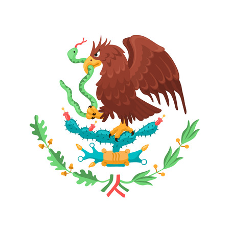 Mexican eagle isolated on white background. Mexico coat of arms. Heraldic symbol of Mexico. Vettoriali