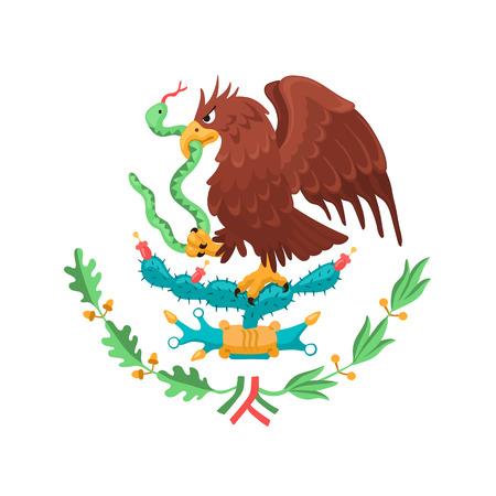 Mexicaanse adelaar geïsoleerd op een witte achtergrond. Mexico wapenschild. Heraldische symbool van Mexico. Vector Illustratie