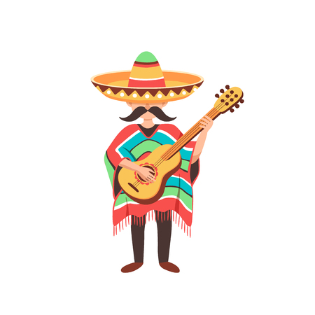 Mexican musician playing on guitar in sombrero and poncho. Mexican guy with mastaches in national costume isolated on white background. Illustration