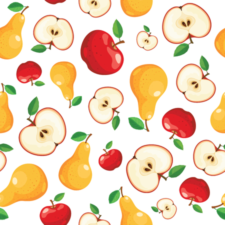 seamless: Seamless fruits pattern isolated on white. Apples and pears haotically arranged. Tiled kitchen background from fresh fruits. Illustration