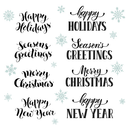 Hand Written New Year Phrases. Greeting Card Text With Snowflakes ...