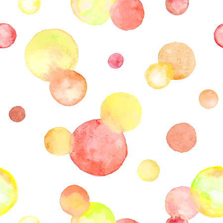 seamless: Watercolor texture. Aquarelle circles in autumn colors. Seamless pattern. Watercolor red, orange and yellow spots isolated on white background.