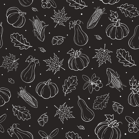 seamless: Seamless autumn background white on black. Tiled fall pattern with leaves, pumpkins and cranberries. Illustration