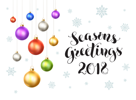 Happy holidays 2018 postcard template. Modern lettering with snowflakes ans Christmas balls isolated on white background. Colorful New Year greeting card concept. Illustration