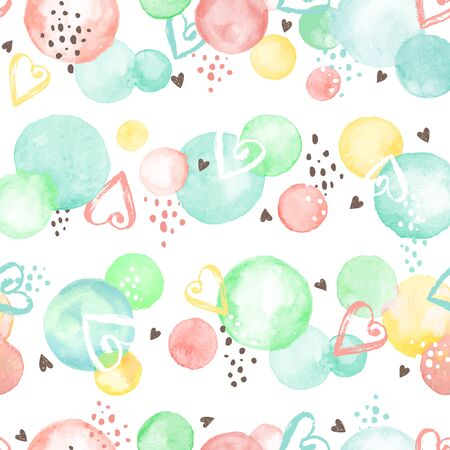 seamless: Watercolor texture. Aquarelle circles in fansy colors. Seamless pattern. Watercolor circles with dry brush hearts isolated on white background.