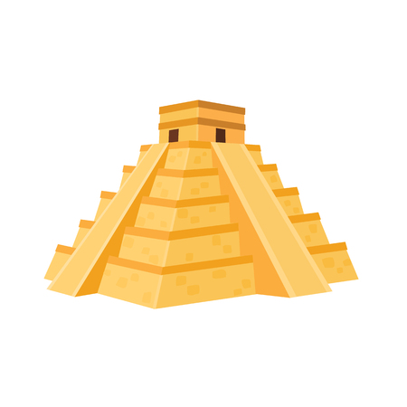 Mexican famous monument. Pyramid from Chichen Itza isolated on white background.