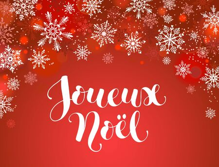 merry christmas french greeting card template modern winter holidays lettering with snowflakes on red background