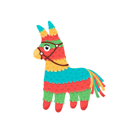 Colorful pinata isolated on white background. Mexcian traditional birthday toy. Çizim