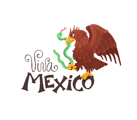 Viva Mexico illustration. Mexican eagle sitting on text isolated on white background. Mexican coat of arms.  Vettoriali