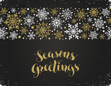 Seasons greetings greeting card template modern winter lettering seasons greetings greeting card template modern winter lettering with snowflakes horizontal frame on chalkboard m4hsunfo