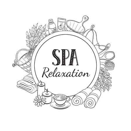 SPA relaxation poster. Sauna accessories sketches in circle shape. Hand drawn spa items collection. Doodle sauna objects isolated on white.