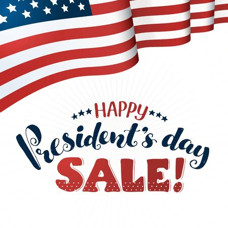 Happy Presidents Day Sale text  with american flag isolated on white background. Hand drawn calligraphy. USA President day lettering with decorative ribbon. Illustration