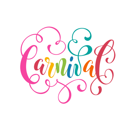 Happy Carnival lettering isolated on white background. Ornamental wording for carnival greeting cards, invitations, etc. Ilustração