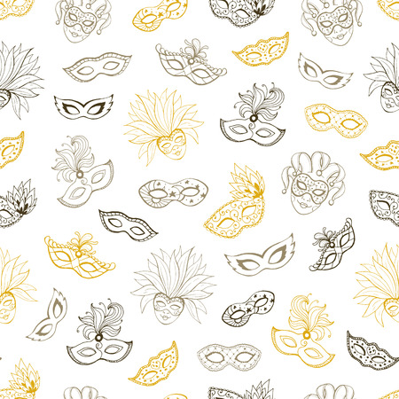 Carnival seamless pattern. Tiled background with masks for masqeurade cards, posters decorations. Hand drawn carnival wallpaper.