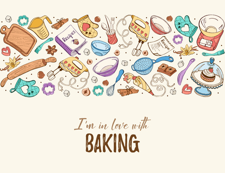 I am in love with baking. Baking tools in horizontal composition. Recipe book background concept. Poster with hand drawn kitchen utensils. Stock Illustratie