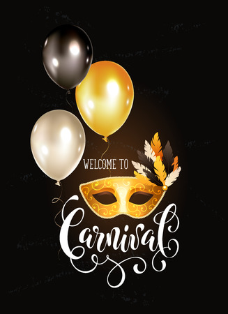 Festive Masqeurade Party invitation template. Bright carnival greeting card with golden venetian mask and balloons. Brasil carnaval party banner with ornamental lettering on dark background.