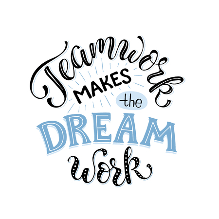 O trabalho em equipe faz o sonho funcionar. Letras inspiradoras na composição do círculo sobre colaboração de equipe. Cartaz motivacional sobre a equipe.