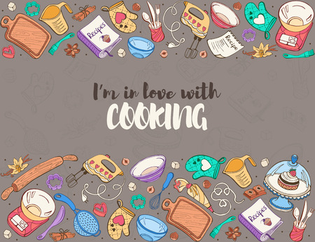 Im in love with cooking. Baking tools in horizontal composition. Recipe book background concept. Poster with hand drawn kitchen utensils.