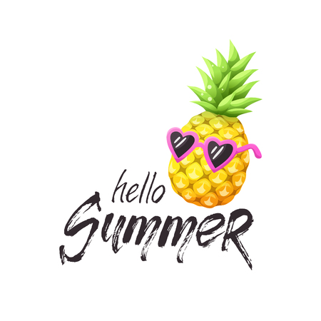Hello summer grunge text with bright cartoon pineapple icon. Colorful pineapple in sunglasses isolated on white background. Vector illustration. Illustration