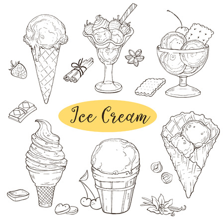 Hand drawn ice cream collection. Ice-cream sundae, scoops, waffle cone in line art style. Cool and sweet ice cream sketches isolated on white background. Vector illustration. Illustration