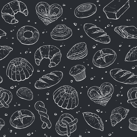 Hand drawn bread seamless pattern white on black. Bakery sketch style vector background. Doodle pasty tiled wallpaper.