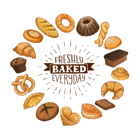 Freshly baked everyday lettering. Circle shape composition from hand drawn bread. Vector illustration for bakery shops isolated on white background. Fresh bread poster concept.  イラスト・ベクター素材