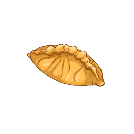 Hand drawn bread isolated on white background. Pie icon vector illustration in sketch style.
