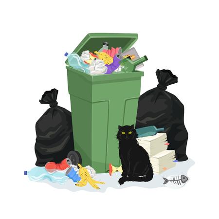 Abfallstapel mit dem Mülleimer und Taschen lokalisiert auf weißem Hintergrund. Vektorillustartion mit Abfallhaufen. Umweltverschmutzungskonzept.