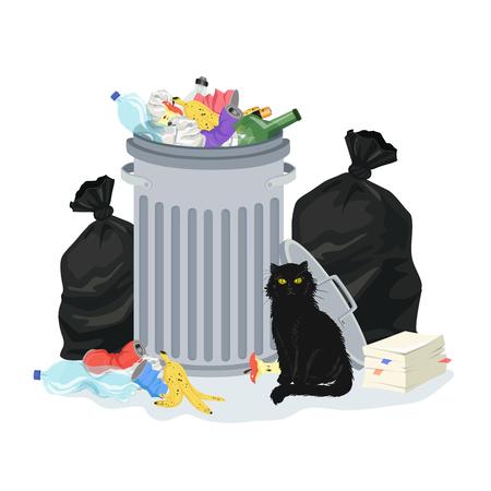 Concepto de contaminación ambiental. Pila de basura con contenedor de basura y bolsas de basura, llenas de desechos domésticos. Gato negro sentado junto a la pila de basura. Ilustración vectorial