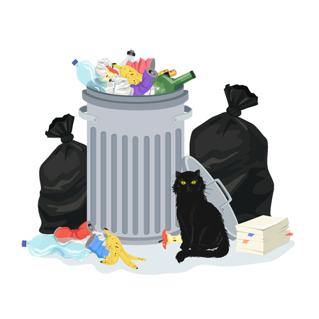 Environment polution concept. Garbage pile with trash container and trash bags, full of household waste. Black cat sitting by the garbage stack. Vector illustration. Illustration
