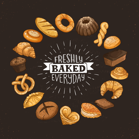 Freshly baked everyday lettering. Circle shape composition from hand drawn bread. Vector illustration for bakery shops on blackboard. Fresh bread poster concept.