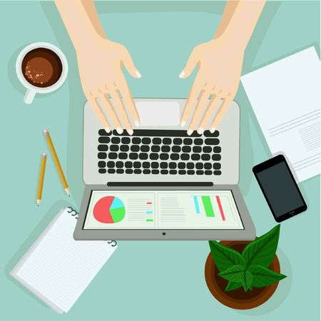 Hand with laptop on the table with office objects. Vector illustration. Top view on work space in office. Person working on computer concept.
