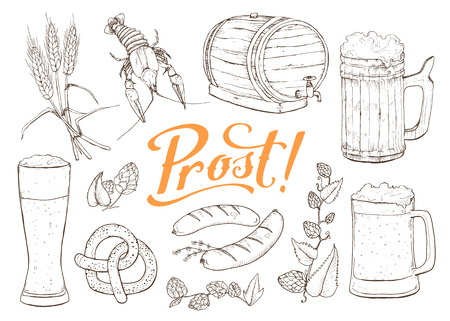 Beer vector sketch isolated on white background. Hand drawn design elements related to beer and Bavaria. Mugs, barrel, pretzel and sausages.