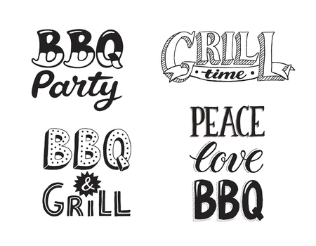 Hand drawn lettering about BBQ and grill isolated on white background. Vector illustration. Barbecue time decorative text for poster design.