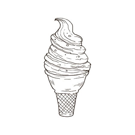 Hand drawn ice cream sketches isolated on white background. Icecream in waffle cone in line art style. Vector illustration.